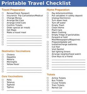 sample travel checklist 8 example format