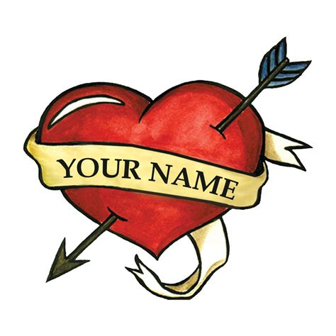 heart with name tattoo with name temporary custom temporary