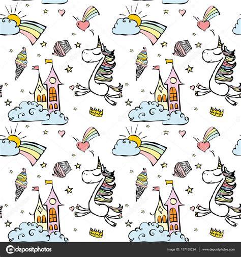 imagenes de unicornios magicos patr 243 n de lindos unicornios m 225 gicos vector de stock