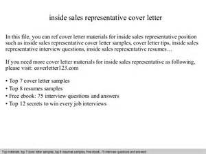 Cover Letter Inside Sales by Inside Sales Representative Cover Letter