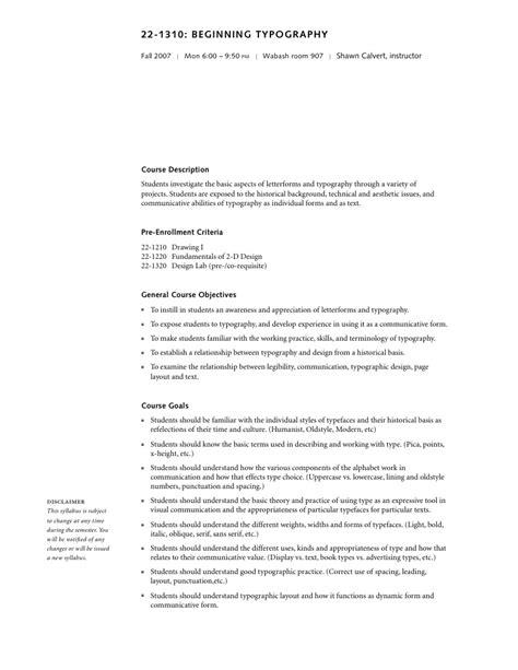 Typography I Syllabus