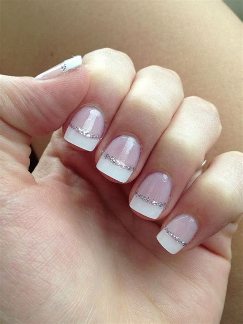 Nail Tips by Tip Nails With Silver Glitter Line Thinking Of