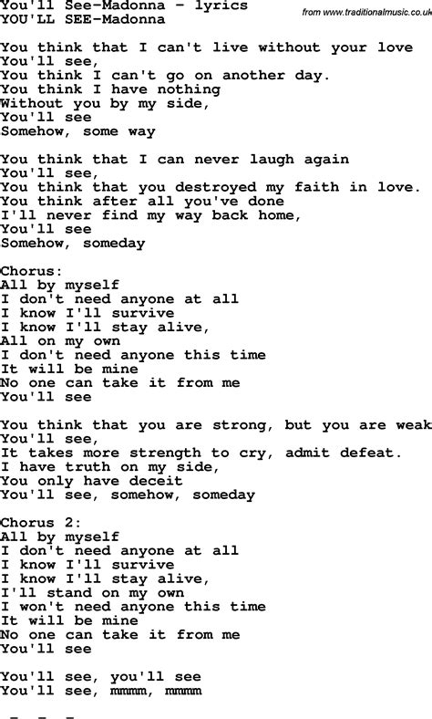 song by song lyrics for you ll see madonna
