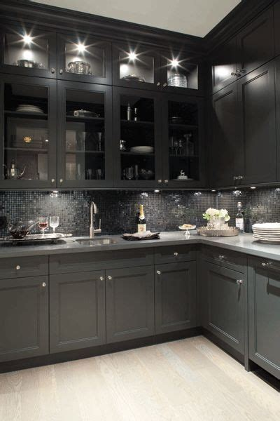 black shaker kitchen cabinets kelly deck design kitchens butler s pantry glass