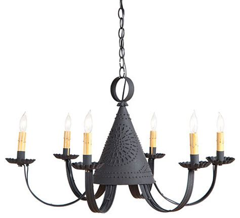 Pennycress Punched Tin Chandelier Farmhouse Pendant Tin Chandeliers