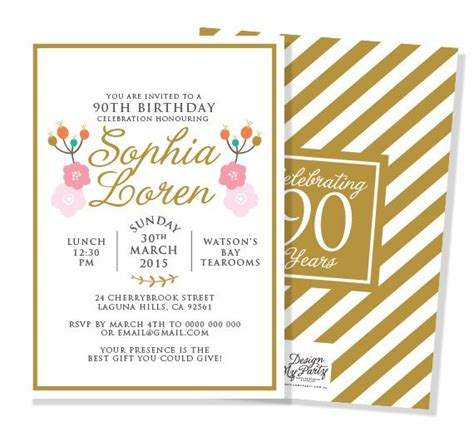 printable 90th birthday invitations any age 30th 40th 50th 80th 90th birthday invitations i personalised diy printables by