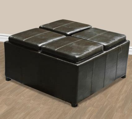 ottoman with 4 tray tops brand new brown leather ottoman with 4 tray tops storage