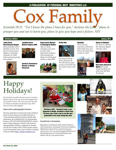family newsletter template rev dr donna cox preaching teaching the