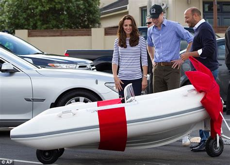 rib boat gifts william and kate look puzzled as boat maker gifts george a
