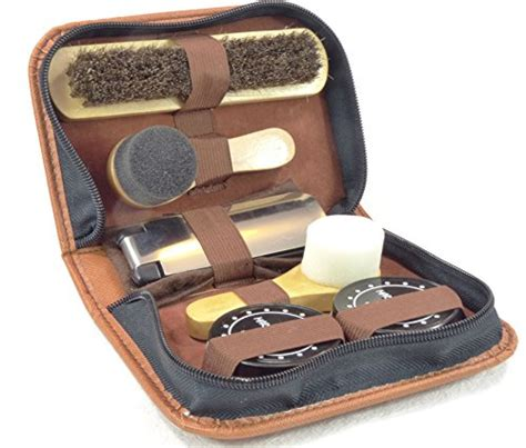 marz products deluxe travel leather shoe care kit 8 pc