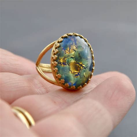 blue green opal green and blue fire opal ring by penny masquerade