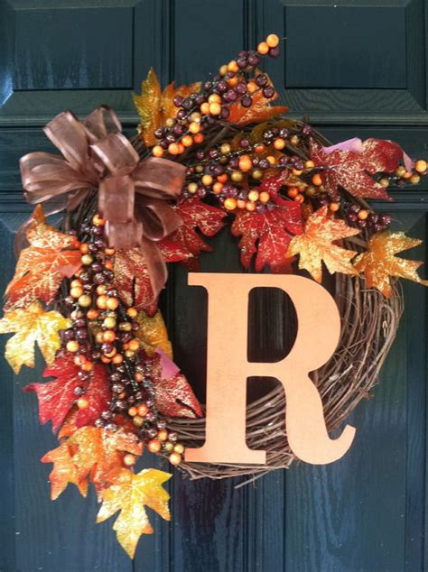 top 28 decorate wreaths fall items similar to fall wreath with monogram on etsy