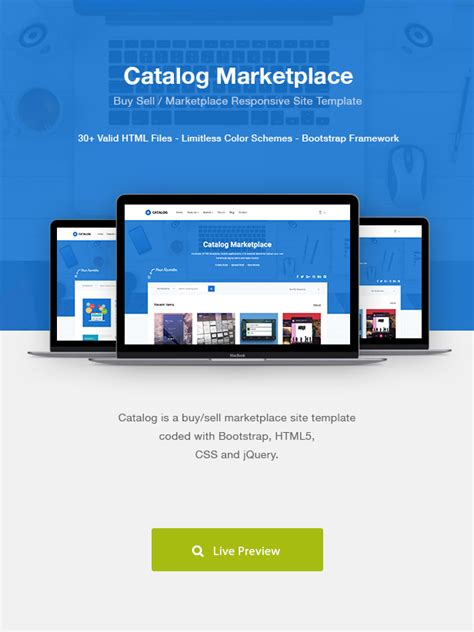 Catalog Buy Sell Marketplace Responsive Site Template Themekeeper Com Marketplace Website Template Free