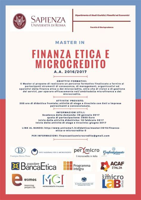 etica microcredito master in finanza etica e microcredito a roma permicro e