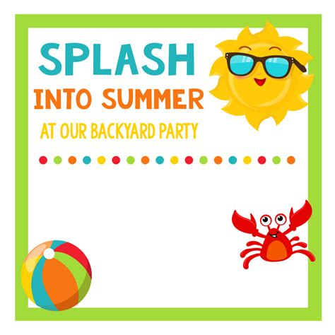 summer invitation templates free school s out summer celebration for squared