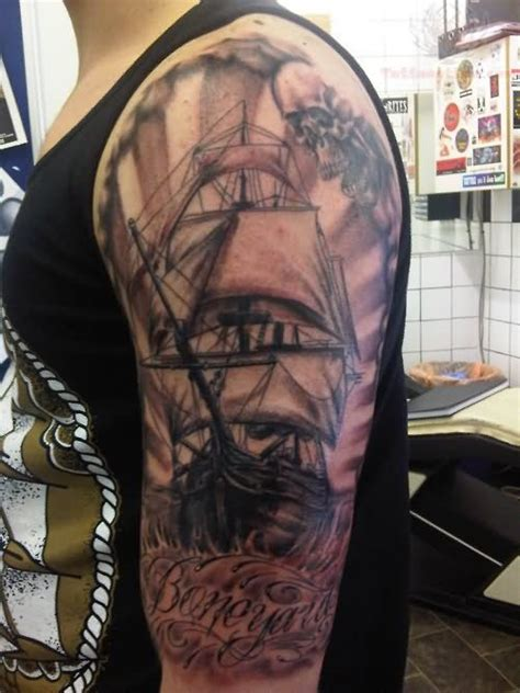 pirate sleeve tattoo designs pirate ship sleeve left half sleeve pirate ship