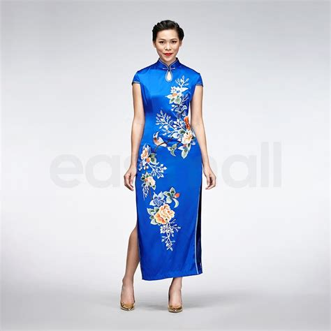 Sleeve Floral Qipao Dress blue floral embroidered silk qipao sleeve
