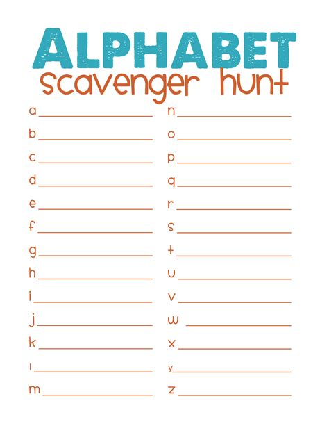 template for scavenger hunt 6 best images of printable scavenger hunt template