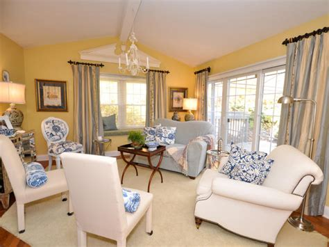Yellow Blue And Green Living Room Transitional Living Space Photos Hgtv