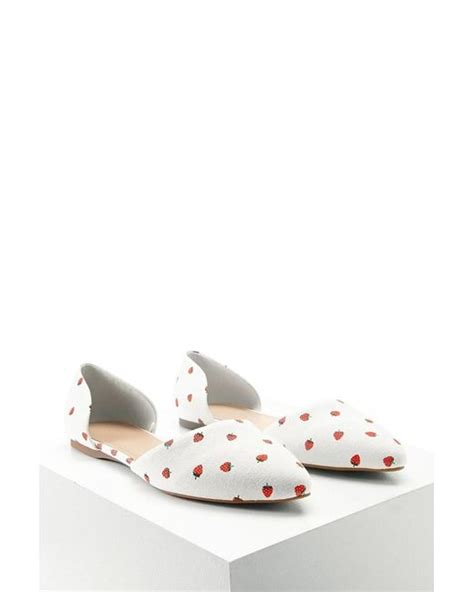 Strawberry Print Canvas Flats At Asos by Forever 21 Strawberry Print Cutout Flats In Lyst