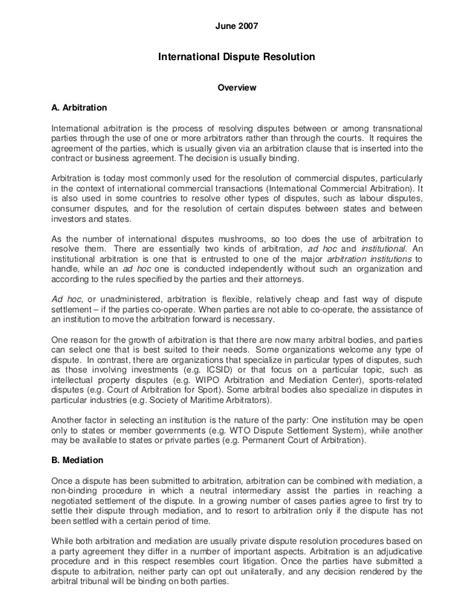Dispute Resolution Letter Template International Dispute Resolution