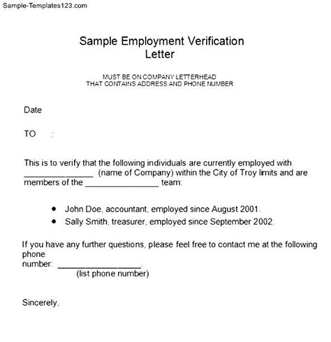 employment verification letter form sle templates