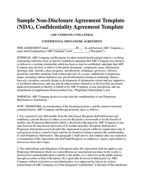non disclosure agreement template ireland non disclosure agreement template free sle nda template