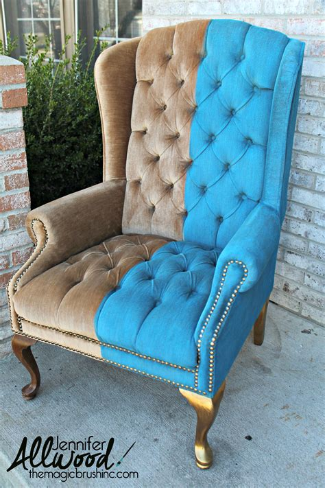 Paint Velvet Fabric   A Chair Makeover   The Magic Brush Inc.