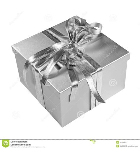 silver christmas gift box on white stock image image