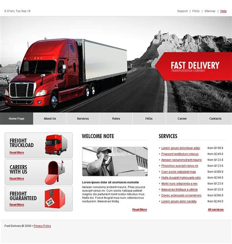 website templates for logistics company trucking website template web design templates website