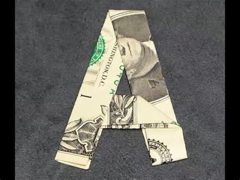 Money Origami Letters - fold origami dollar bill alphabet letter a