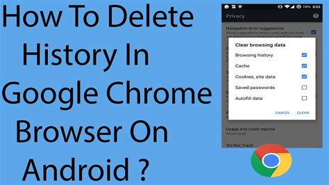 how to delete history in chrome browser on android