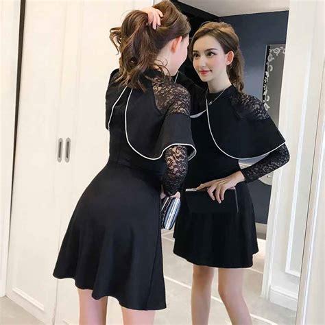 Dress Dress Korea Brukat Dress Brukat Hitam Black 2 dress warna hitam brukat lengan panjang myrosefashion