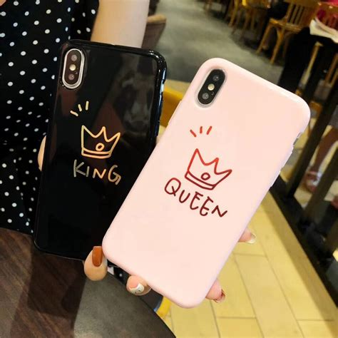 fashion candy letters king queen couples phone case