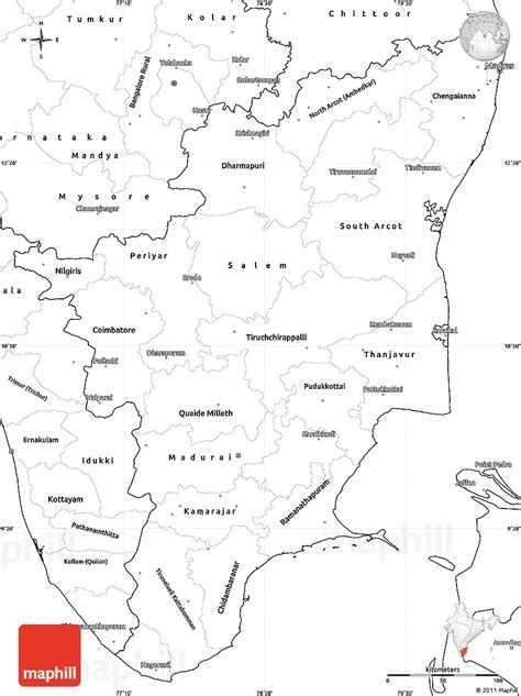 Tamilnadu Outline Map India by Blank Simple Map Of Tamil Nadu