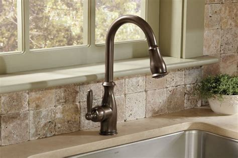 moen rubbed bronze kitchen faucet moen 7185orb brantford one handle high arc pulldown