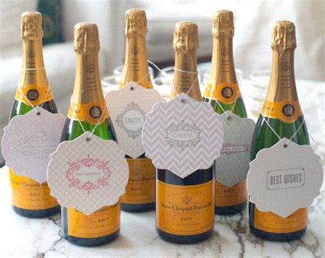 letterpress tags on bottles prosecco or chagne for