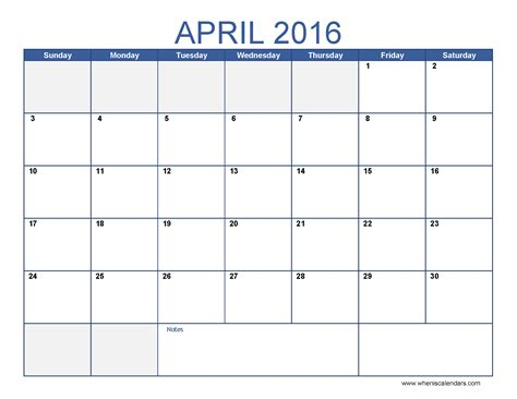 april 2016 calendar blank template when is calendar