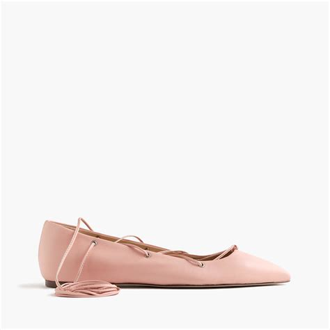 Leather Lace Up Flats j crew leather lace up ballet flats in pink lyst