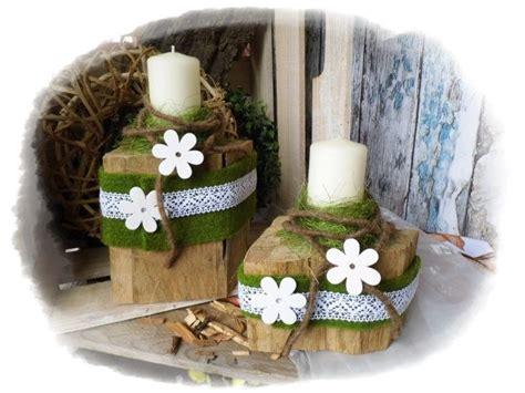 kerzenhalter deko holz floristik von floras creative