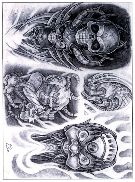 biomechanical skull tattoo design grey ink biomechanical skull tattoos designs