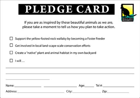 pledge card template custom card template 187 pledge card templates free card