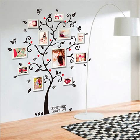 home decor stickers chic black family photo frame tree butterfly flower mural wall sticker home decor room