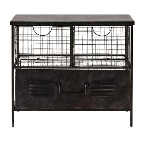 Small Metal Shelving Unit Etienne Metal Storage Unit In Black W 66cm Maisons Du Monde