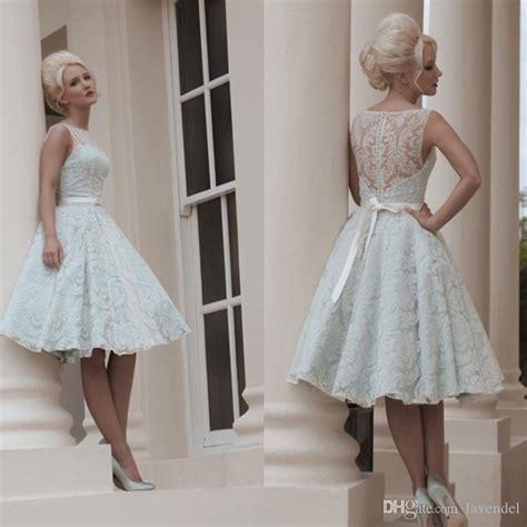 White Vintage Wedding Dresses by Custom Made White Vintage Lace Wedding Dress Knee Length