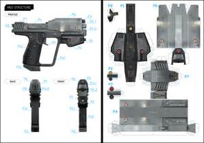 papercraft weapons templates halo m6g template on behance