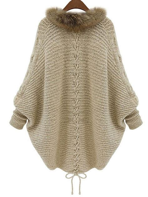 Plain Lace Up Sweater batwing lace up casual plain cocoon sweaters cardigan