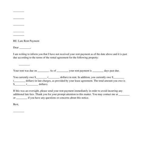 Rent Change Letter Late Rent Notice Free Sle Template Word And Pdf