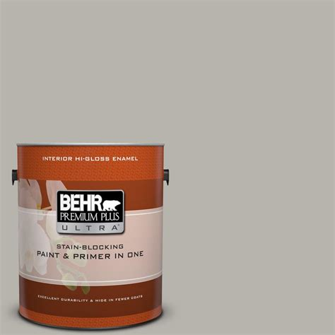 behr premium plus ultra 1 gal ppu24 11 greige hi gloss enamel interior paint 875401 the home
