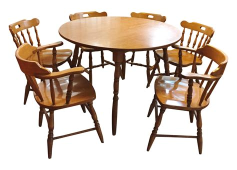 table six chairs mid century modern captain s table six chairs chairish